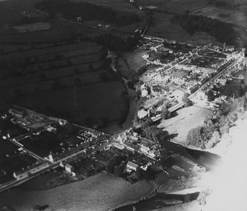 Gatehouse of Fleet, facing north, showing Fleet Street and High Street.  Oblique aerial photograph taken facing north.  This image has been produced from a print.