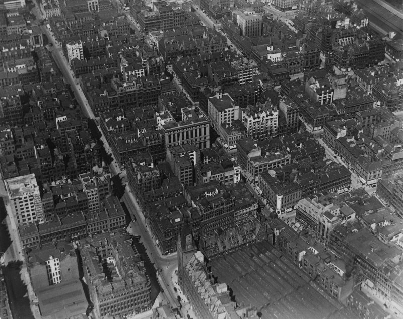 Glasgow, general view, showing Hope Street and Renfield Street.  Oblique aerial photograph taken facing north-east.  This image has been produced from a print.