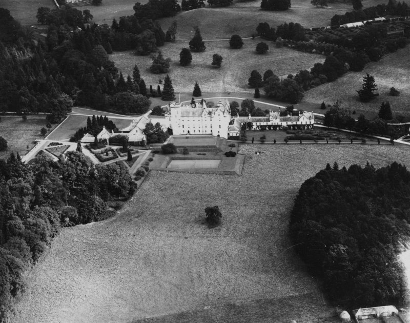 Blair Castle, Blair Atholl.  Oblique aerial photograph taken facing north-east.  This image has been produced from a print.