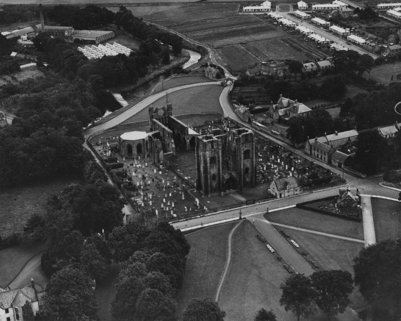 Elgin Cathedral.  Oblique aerial photograph taken facing south-east.  This image has been produced from a print.