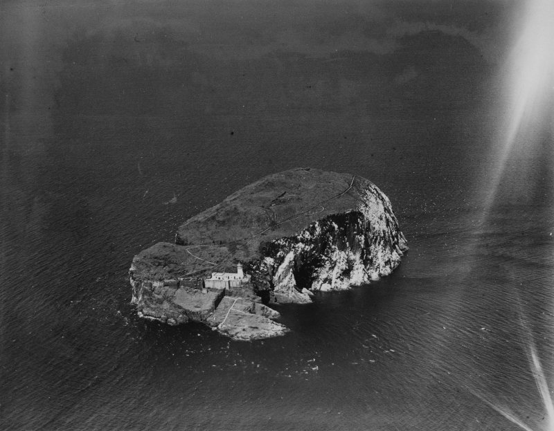 Bass Rock.  Oblique aerial photograph taken facing north.  This image has been produced from a print.