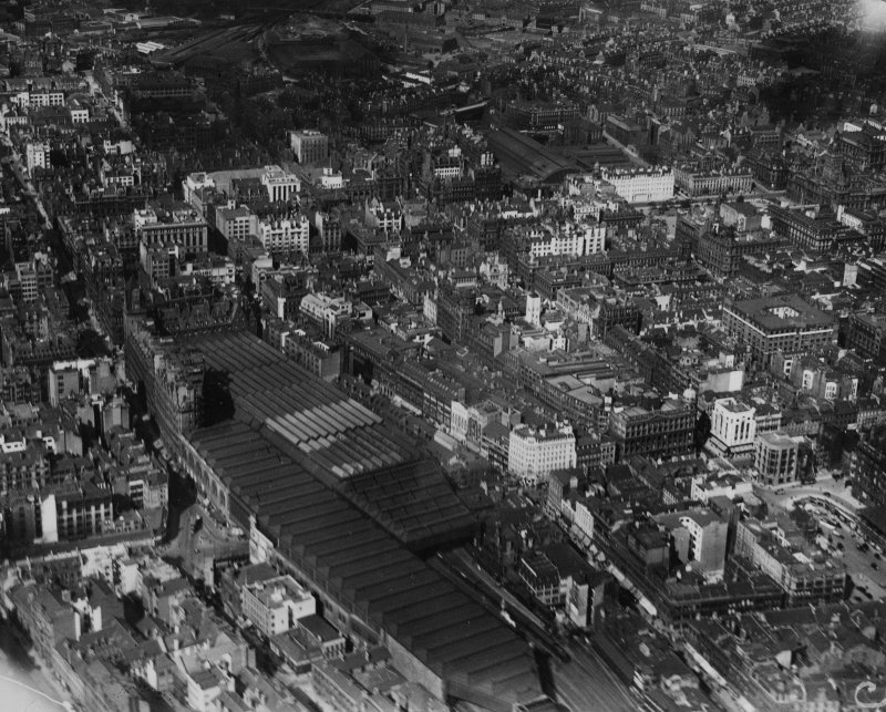 Glasgow, general view, showing Central Station and Queen Street Station.  Oblique aerial photograph taken facing north-east.  This image has been produced from a print.