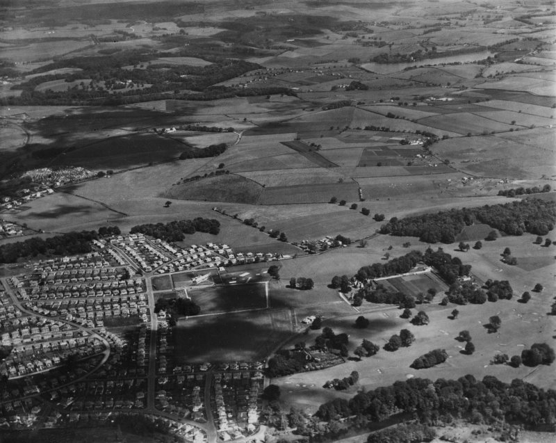 Bearsden, general view, showing Rannoch Drive and Killermont Golf Course.  Oblique aerial photograph taken facing north-east.  This image has been produced from a print.