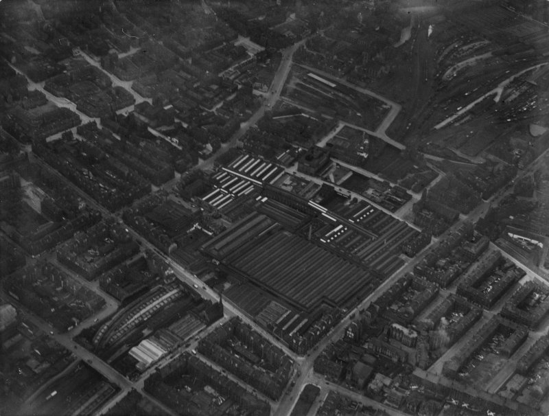 Cattle Market, Bellgrove Street and College Goods Yard, High Street, Glasgow.  Oblique aerial photograph taken facing west.  This image has been produced from a print.