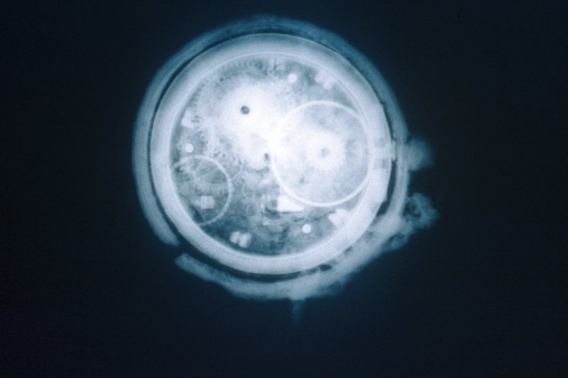 Maritime photographs: Radiograph of a fob watch recovered by the Archaeological Diving Unit (ADU) during investigations of the wreck off Duart Point.