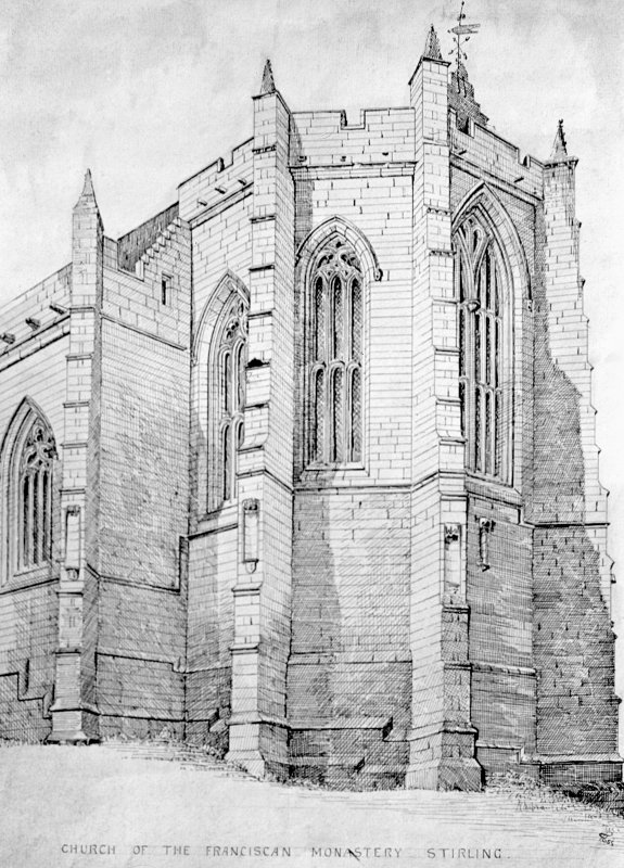 Drawing showing view from SE.