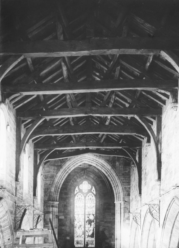 Interior. View of nave and roof.