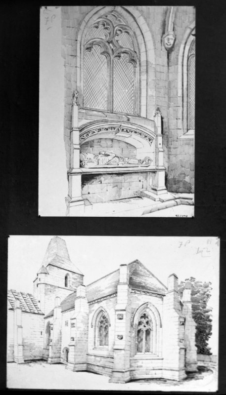 Photographic copy of drawing showing two perspective views.