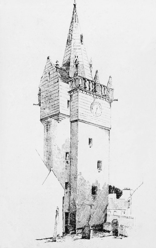 Photographic copy of drawing of Tolbooth Steeple
