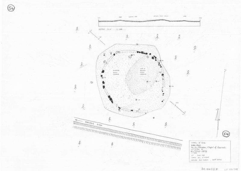 400dpi scan of site plan DC44528 - Plan and section of Chapel O' Sink Cairn