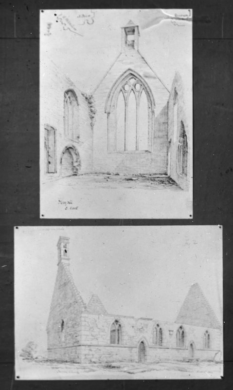 Drawings showing interior of Temple Old Church and general view of Drainie Old Parish Church from SW.