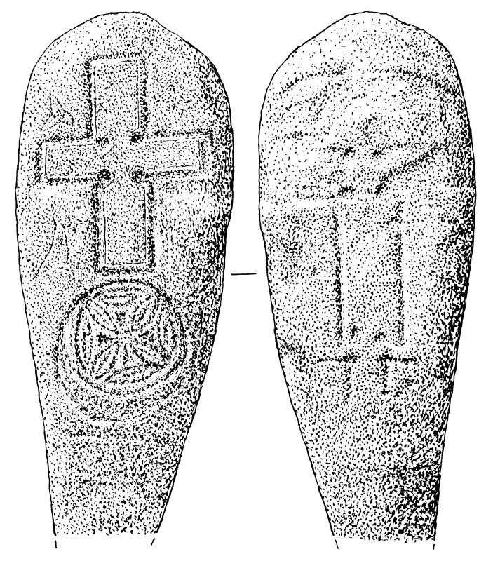 Measured drawing of face and reverse of cross slab, St Boniface, Papa Westray