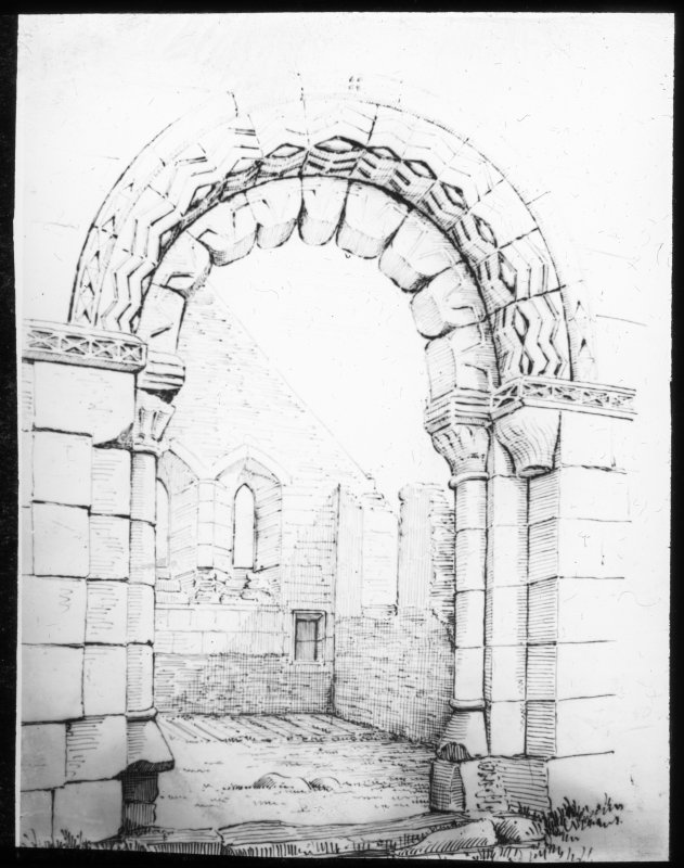 Drawing of doorway in nave from W.