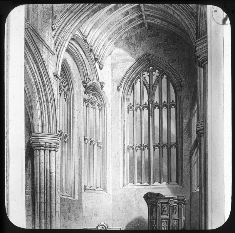 View of windows and nave.