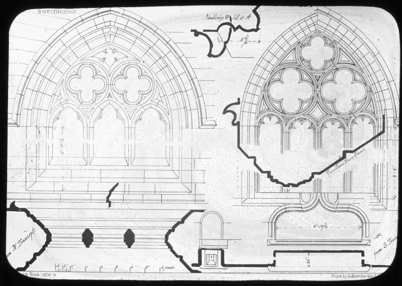 Drawing of windows and mouldings.
