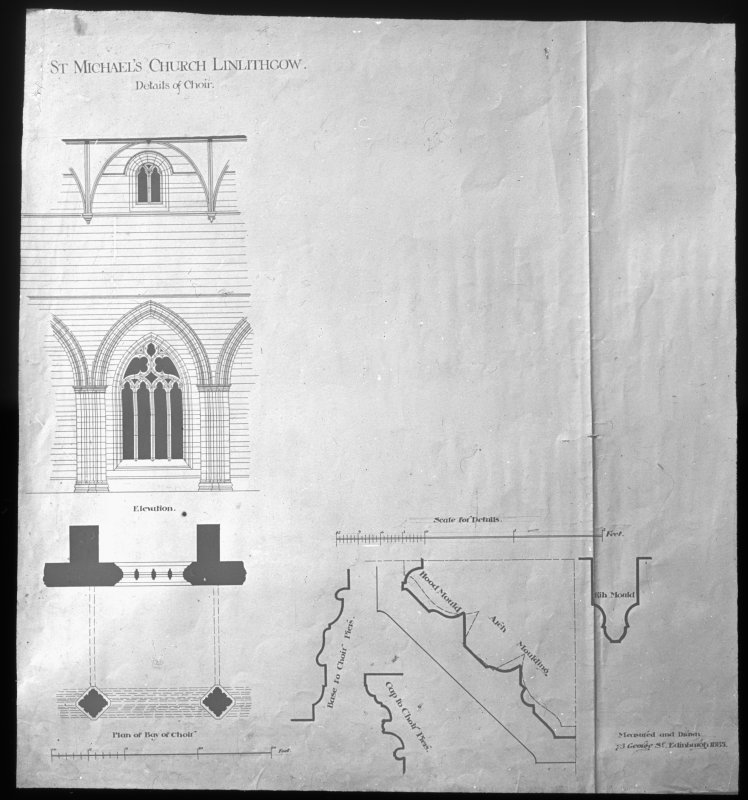Drawing showing part plan, elevation and details of mouldings.