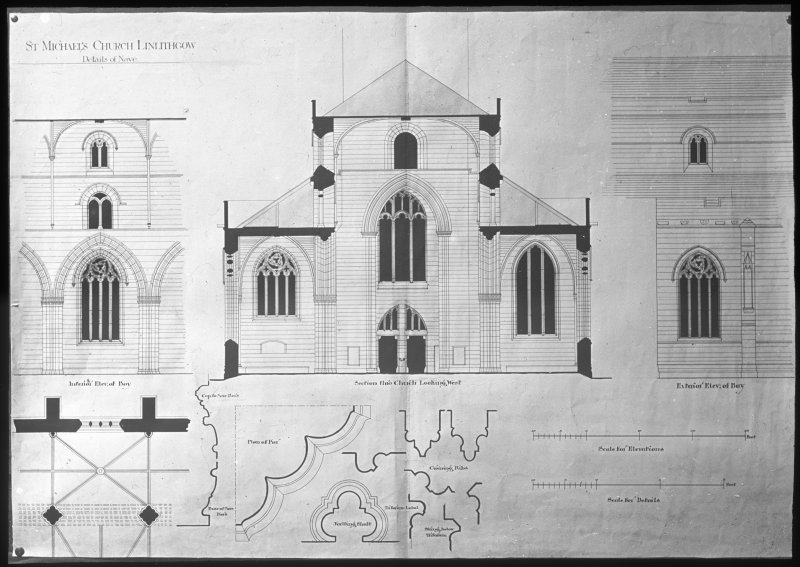 Drawing showing part plan, section and elevations.