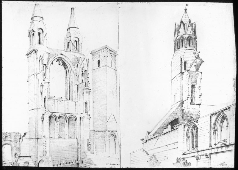Sketches of St Andrews Cathedral and St Regulas tower.