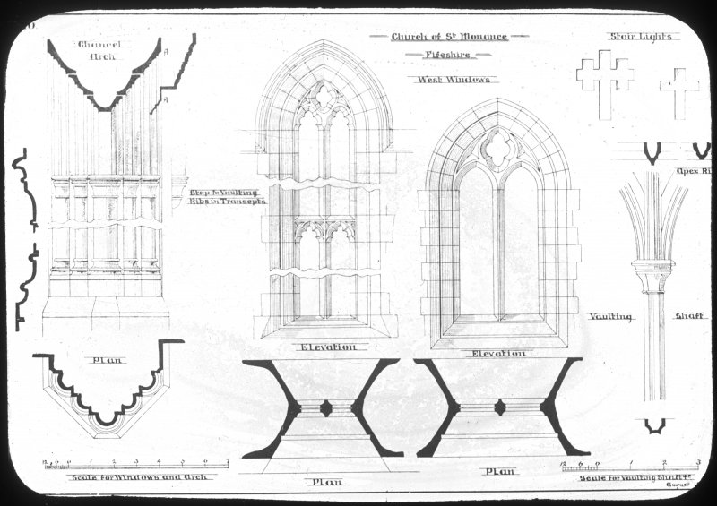 Plan drawings of west windows and vaulting.