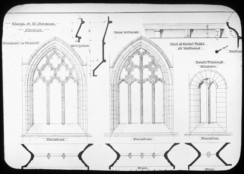 Plan drawings of chancel windows and corbels.