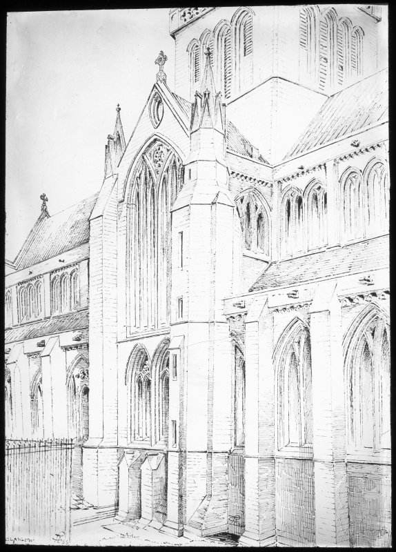 Drawing showing transept entrance.