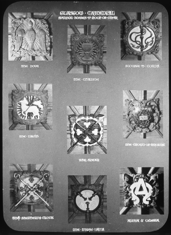 Interior. Detail of symbol bosses on choir roof.