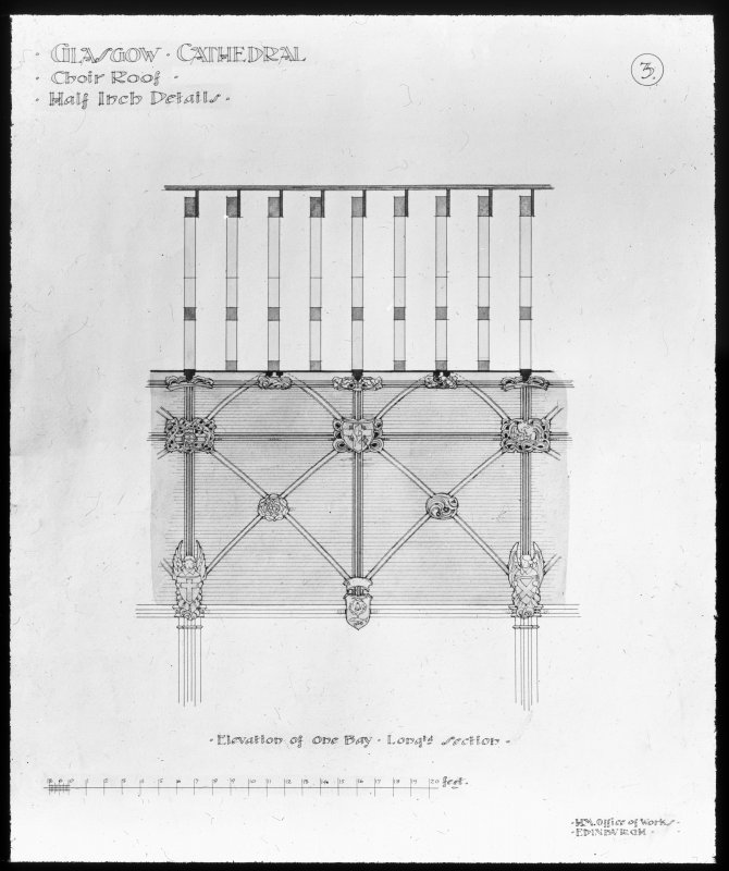 Drawing showing elevation of choir roof.
