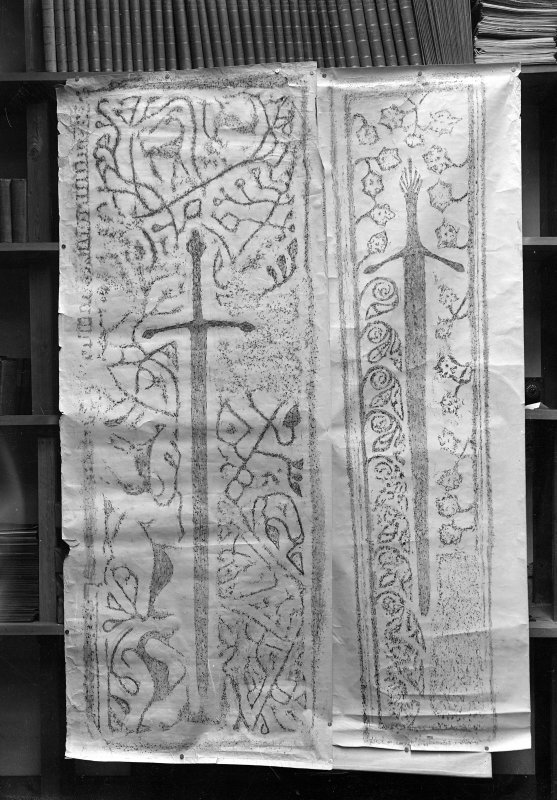 1 a) Rubbing of Grave Slab, Kilmuir Churchyard, Dunvegan, Skye (Parish of Duirnish)    b) (See also rubbing on In/657)    2.  Rubbing of grave slab, St. Clement's Church, Rodel, Harris (Inv.Fig.145)