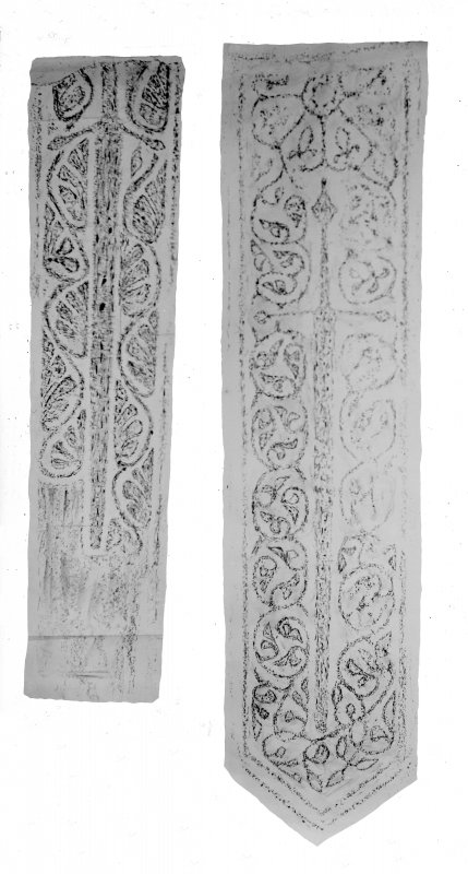 1. a) Rubbing of grave slab, St. Clement's Church, Rodel, Harris     b) See also rubbing on IN/458    [One of these is Inv.Fig. 143] 2. a) Rubbing of grave slab, St. Clement's Church, Rodel. Harris     b) See also rubbing on IN/458     [One of thse is Inv. Fig. 144]