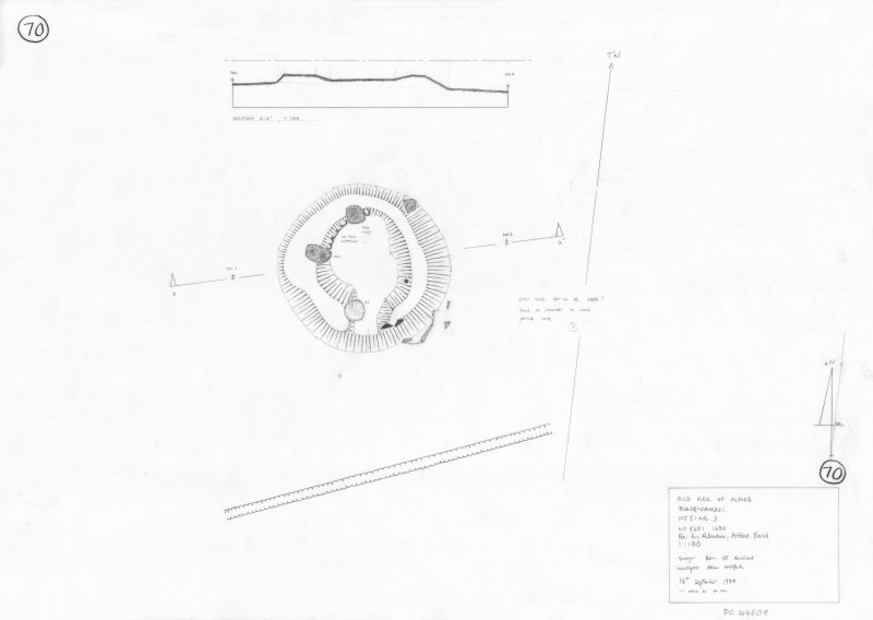 400dpi scan of site plan DC44508 - Plan, elevation and section of Auld Kirk of Alford Cairn