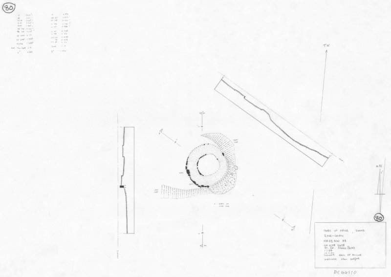 400dpi scan of site plan DC44510 - Plan, elevation and section of Sands of forvie Ring Cairn