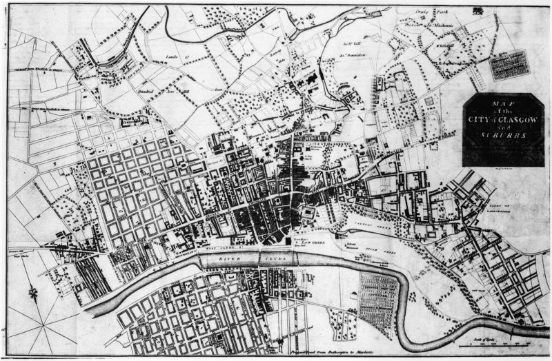 Glasgow Map. P Fleming. 1808.  Insc: 'Map of the City of Glasgow and Suburbs'.
