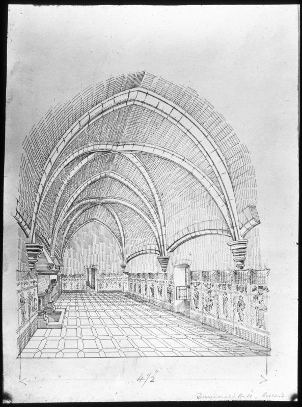 photographic copy of drawing of hall. Inscribed 'Dundonald Hall Restored'.