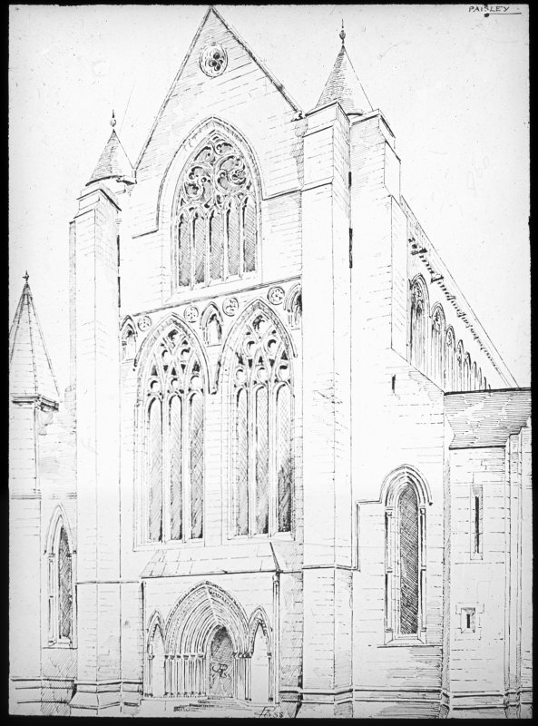 Photographic copy of drawing of W End.