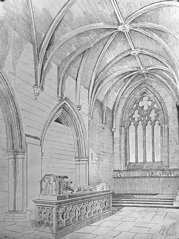 Photographic copy of engraving of St Mirren's Aisle.