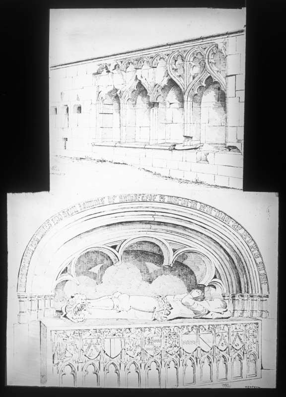 Photographic copy of engraving of interior details.