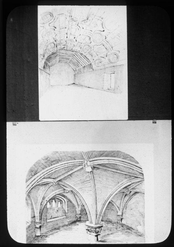 Photographic copy of two drawings. Interior view of Grandtully Church and interior of Restalrig Parish Church.