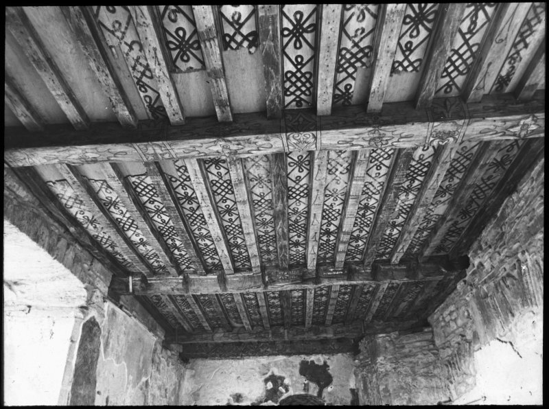 Huntingtower Castle, interior. Detail of painted ceiling.