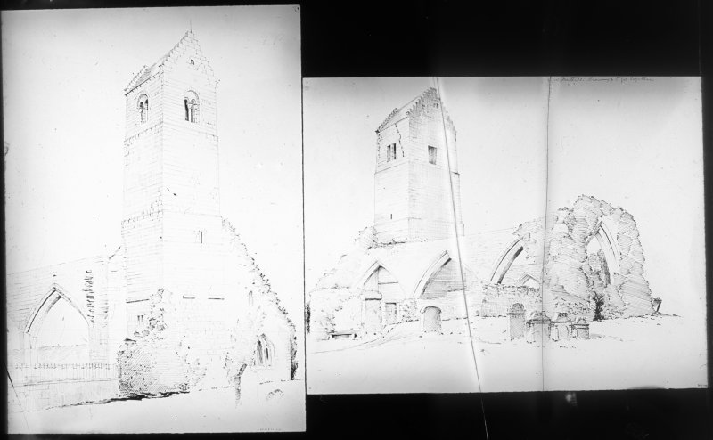 photographic copy of two drawings showing general views.