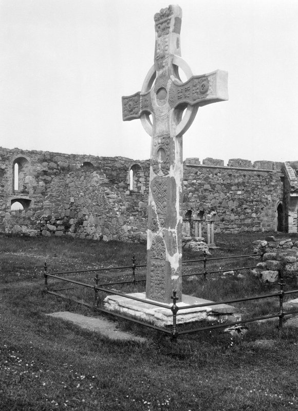 Iona, St Mary's Abbey, St John's Cross. View of West face as restored by RAS MacAlister.