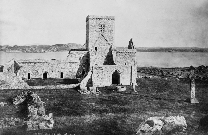 Iona, Iona Abbey. General view. Insc: 'Iona Cathl from the West'.