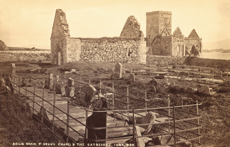 Titled 'Reilig Oran, St Oran's Chapel & the Cathedral, Iona'.