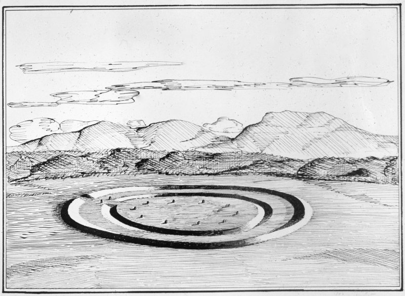 Photographic copy of drawing of reconstruction of henge.
