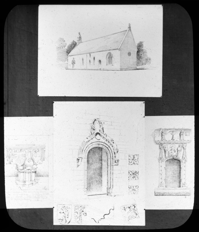 Photographic copy of drawing of Fowlis Easter church and details of font and niches.
