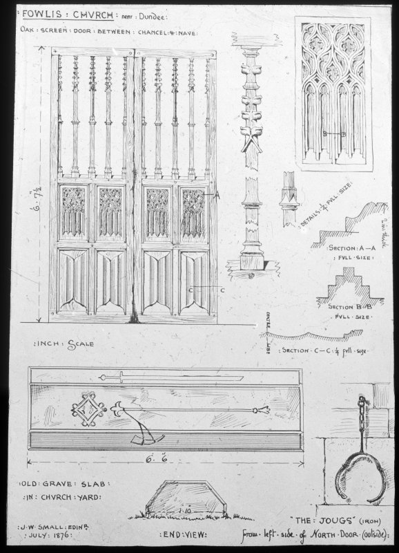 Photographic copy of drawings of details of the church.