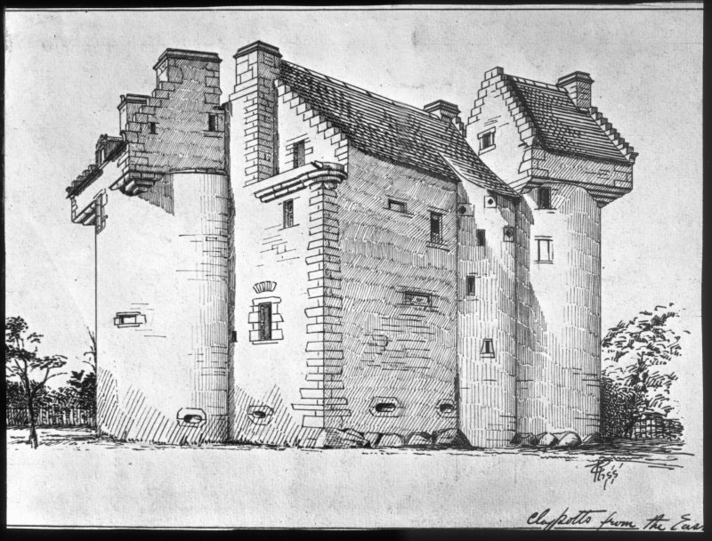 Dundee, Claypotts Road, Claypotts Castle. Photographic copy of drawing showing West facade.