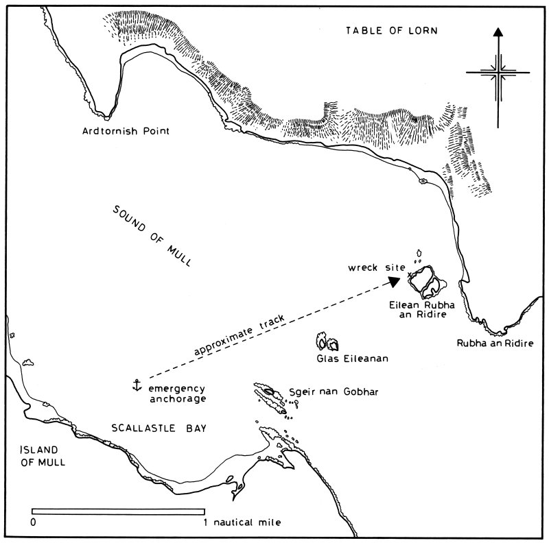 Probable track of Dartmouth from her emergency anchorage in Scallastle Bay to the wreck-site on Eilean Rubha an Ridire (Martin, 1978: 30).