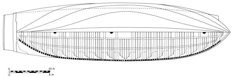 Body lines and main-deck structural plan of a 5th-rate (larger than Dartmouth), adapted from Keltridge (1684) (Martin, 1978: 29).