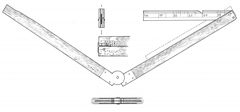Hardwood carpenter's folding ruler (HXD 328), with with two 9-inch arms and a retractable copper-alloy 6-inch extension at one end. The graduations on the wooden arms have largely been removed by abrasion, though fragments remain, including elements of a Gunter's Table at one folded end.