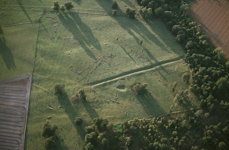 Oblique aerial view of Inchtuthil Roman Fortress showing the remains of Delvine golf course.